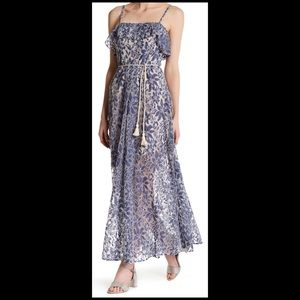 Jessica Simpson Denim Floral Lace Maxi Sundress